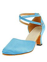 Customizable Women's Dance Shoes Satin Modern Heels Customized Heel Performance Blue
