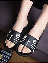 Damen-Slippers & Flip-Flops-Lässig-Gummi-Flacher Absatz-Fersenriemen-Weiß Schwarz