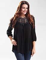 Women's Casual/Daily Party Holiday Simple Street chic Shirt,Embroidered Round Neck ¾ Sleeve Polyester
