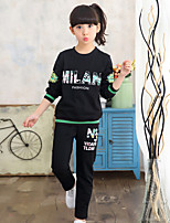 Girls' Casual/Daily Sports Going out Patchwork Print Sets,Cotton Fall Spring Long Sleeve Clothing Set