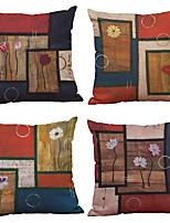4 Stück Leinen Natürlich / Organisch Kissenbezug,Fest Texture Traditionell-Klassisch Strand Design Modern/Zeitgenössisch Büro/Geschäftlich