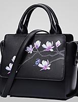Senhoras pu lazer novo floral impressão ombro bolsa