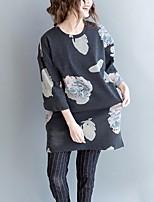 Tee-shirt Femme,Fleur Sortie Décontracté / Quotidien simple ½ Manches Col Arrondi Coton