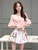 Women's Casual/Daily Work Cute T-shirt Skirt Suits,Solid Round Neck