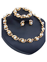Women's Jewelry Set Imitation Pearl Euramerican Resin Chrome Rhinestones Circle ForWedding Party Special Occasion Halloween Anniversary