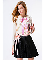 YANG X-M Women's Casual/Daily Work Cute Spring Summer Shirt Skirt SuitsSolid Round Neck Long Sleeve Pleated Inelastic