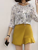 Women's Casual/Daily Simple Cute Spring Summer Blouse,Floral Round Neck ½ Length Sleeve Others Opaque Thin