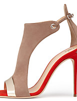 2017 Women's Red and Beige Peep toe High Heel Sandals Ladies Spring Summer Slingback Shoes Two-piece Covered Heel Stilettos