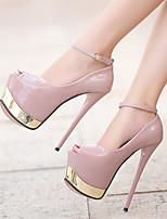 Белый Черный Розовый-Для женщин-Повседневный-ПолиуретанБосоножки-Обувь на каблуках