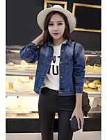 Women's Going out Casual/Daily Street chic Sophisticated Spring Fall Denim Jacket,Solid Shirt Collar Short Cotton