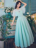 Einteilig/Kleid Niedlich Vintage Inspirationen Elegant Prinzessin Cosplay Lolita Kleider Türkis Spitze Vintage Glocke Kurzarm Knöchellänge