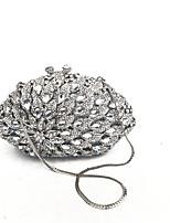 Женщины кладет вечерний серебряный ковер с полными кристаллами на вечер / мероприятие / коктейль