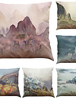 Set of 6 Buddhist Landscape Painting Pattern Linen Pillowcase Sofa Home Decor Cushion Cover  Throw Pillow Case (18*18inch)