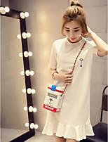 Tee-shirt Femme,Couleur Pleine Décontracté / Quotidien simple Manches Courtes Col Arrondi Polyester