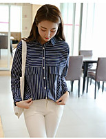 Women's Casual/Daily Simple Shirt,Striped Shirt Collar Long Sleeve Acrylic