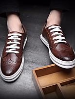 Черный Серый Коричневый-Для мужчин-Повседневный-КожаУдобная обувь-Туфли на шнуровке