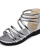 Girls' Sandals Summer Gladiator Comfort Leatherette Outdoor Office & Career Party & Evening Casual Flat Heel Zipper Silver Black Gold