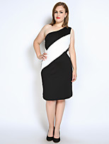 Really Love Women's Plus Size Party Club Sexy Vintage Street chic Sheath Tunic Black and White Dress,Color Block Patchwork One Shoulder Midi