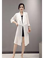 Для женщин Праздник Лето Осень Блуза V-образный вырез,Простое Однотонный Рукав ¾,Нейлон,Средняя