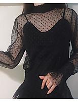 Damen Solide Einfach Ausgehen Hemd,Rollkragen Langarm Andere