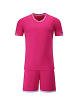 Men's Soccer Clothing Sets/Suits Breathable Quick Dry Summer Polyester Football/Soccer Blushing Pink Blue Green Red Yellow