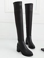 Черный-Для женщин-Повседневный-ПолиуретанУдобная обувь-Ботинки