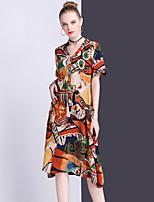 Для женщин На выход На каждый день Винтаж Свободный силуэт Платье Геометрический принт,V-образный вырез Средней длины С короткими рукавами