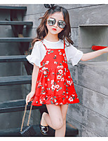 Girls' Casual/Daily Print Sets,Cotton Rayon Summer Short Sleeve Clothing Set