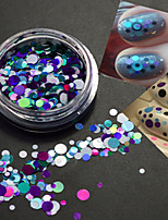 1Bottle Fashion Round Slice Nail Art Decoration Mixed Size Colorful Laser Glitter Paillette Slice P8