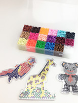 Approx 5400PCS 18 Color 5MM Fuse Beads Set with 3PCS Random Mixed Shape Template Clear Pegboard Giraffe Parrot Bear DIY Jigsaw(Set B 18*300PCS)