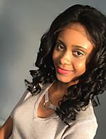 Maysu fashionable preto médio longo encaracolado laço frente peruca sintética etéreo 20 polegadas mulher cabelos