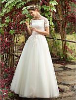 Trapèze Robe de mariée - Chic & Moderne Tout Simplement Superbe Longueur Sol Bateau Tulle avec Appliques Perlage Fleur