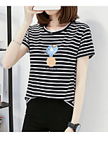 Women's Casual/Daily Simple Spring Summer T-shirt,Striped Round Neck Short Sleeve Cotton Opaque