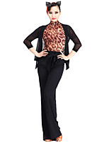 Latin Dance Tops Women's Performance Chinlon Tulle 1 Piece 3/4 Length Sleeve Top