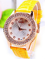Women's Wrist watch Quartz Leather Band Black Gold Yellow