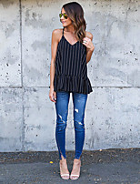 Women's Going out Sexy Spring Summer T-shirt,Striped V Neck Sleeveless Spandex Sheer