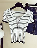 Women's Going out Casual/Daily Holiday Regular Pullover,Striped V Neck Short Sleeve Others Spring Fall Thin Stretchy