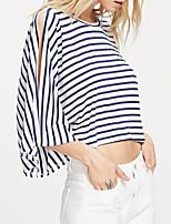 Damen Gestreift Sexy Einfach Street Schick Ausgehen Lässig/Alltäglich Arbeit T-shirt,Rundhalsausschnitt Sommer Herbst ¾-Arm Baumwolle