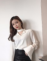 Women's Going out Casual/Daily Simple Shirt,Solid V Neck Long Sleeve Others