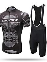 XINTOWN חולצת ג'רסי ומכנס קצר ביב לרכיבה בגדי ריקוד גברים שרוול קצר אופניים גרביונים ביב ג'רזיייבוש מהיר רוכסן קדמי נושם רך דחיסה 3D לוח