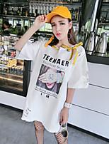 Feminino Camiseta Praia FofoEstampado Algodão Decote Redondo Manga Curta