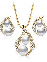 New Fashion Luxury Cubic Zirconia Jewelry Set For Women Necklace Set Double Pearl Earrings Wedding Beads Jewelry Gift Bridal Accessories