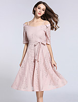 Women's Going out Casual/Daily Party Simple Cute Sheath Lace Dress Solid V Neck Midi Short Sleeve Summer