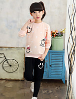 Girls' Casual/Daily Sports Going out Print Patchwork Polka Dot Sets,Cotton Fall Spring Long Sleeve Clothing Set