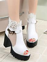 Feminino Sandálias Conforto Couro Ecológico Primavera Casual Branco Preto Vermelho 5 a 7 cm
