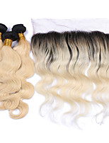 Body Wave Ombre Human Hair Bundles with Lace Frontal Closure Free Part #1b/613 Black to Blonde Human Hair Extensions Two Tone Human Hair Weaves
