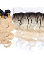 A Ombre Cheveux Brésiliens Ondulation naturelle 6 Mois 4 Pièces tissages de cheveux
