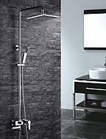 Contemporary Wall Mounted Handshower Included with  Ceramic Valve Two Handles Three Holes for  Chrome , Shower Faucet