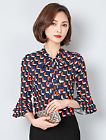 Women's Casual/Daily Simple Shirt,Polka Dot V Neck Long Sleeve Cotton Linen Thin