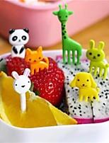 1 Set 10Pcs New Animal Farm Mini Cartoon Fruit Fork Sign Resin Fruit Toothpick Bento Lunch For Children Decorative Plastic Random Shape